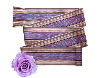 Peach Lavender Sash SA64 - Pink Sash Belt - Boho Gypsy Clothing - Bohemian Belt - Boho Chic Fashion - Guatemalan Textiles - Ikat Fabric Sash