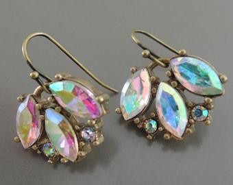 Rainbow Crystal Earrings - Antique Gold Earrings - Bridesmaid Earrings - Vintage Wedding Earrings - Upcycle Earrings - handmade