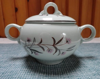 Mid Centry White Ceramic Sugar Bowl with Lid Pink Floral