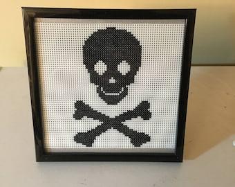 Skull and Cross Bones Counted Cross Stitch