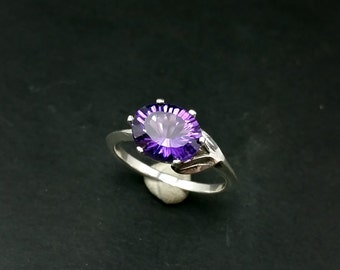 Amethyst Size 8 Knife Edged Handmade Ring