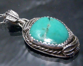 Vintage Navajo Turquoise & Sterling Silver Pendant Necklace Native American Indian Southwestern Feather Jewelry