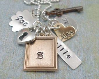 Hand Stamped Necklace  Personalized Mommy Necklace   Treasured Trinkets  Mixed Metal Necklace Tiny Tokens Designs