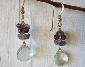 Green Amethyst, Garnet, Iolite 14K Gold Filled Handmade Earrings