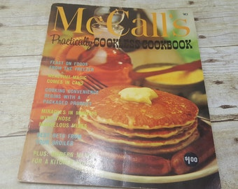 McCalls Practically Cookless Cookbook, 1965, vintage cook book, mid century