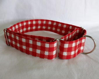 Red-White Picnic Plaid-Gingham Checks Choose Buckle or Martingale Dog Collar-Small-Large Breed Dog-1 inch 1.5-2 inch width-Traffic-Dog Leash
