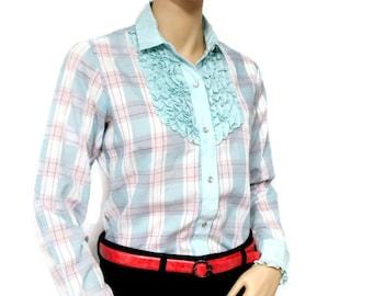 Western Vintage Blouse Women's Blouse Karman Ruffled Western Shirt Urban Cowgirl Plaid Blouse Pink Mint Vintag Women's Shirt Size 34