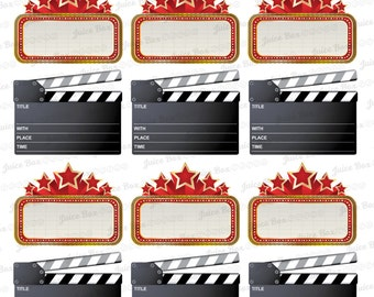 Set of 18 Movie Marquee Clapper Stickers for Various Planners, Calendars, Journals