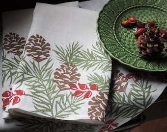 Christmas Pine Boughs linen cloth dinner napkins winter holiday home decor natural history hostess gift hand block printed set of 2
