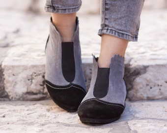 Black and Grey Suede Boots, Ankle Boots, Grey Leather Booties, Grey Boots, Winter Shoes, Grey Shoes, Flat Boots , Free Shipping