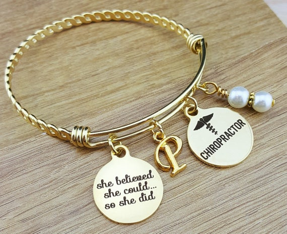 Gold Bangle Chiropractor Gifts Chiropractic Gifts College Graduation Graduation Gift Senior 2018 Senior Gifts College Graduation Gift
