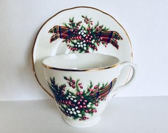 Bone china heather and tartan cup and saucer, heather bone china, tartan bone china, Scottish heather bone china,