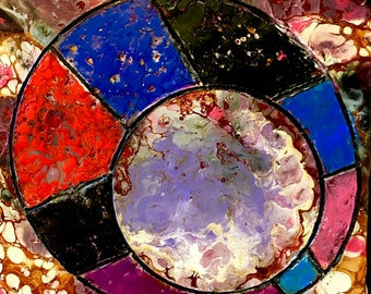 Original encaustic mixed media art. Abstract painting. Wax art. Affordable art. Stained glass. Shellac burn.