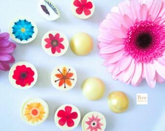 Demi spheres chocolat blanc, fleurs, bonbons chocolat - cadeau anniversaire, fete des meres, cadeau naissance, baby-shower