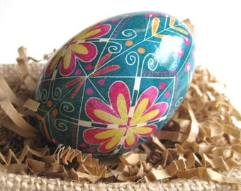 Ukrainian Easter egg Turquoise and Pink pysanka egg ornament and egg decorating supplies