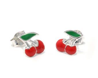 925 sterling Silver Cherry Earrings