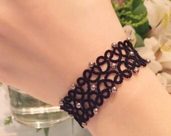 Tatting lace bracelet pdf pattern (The Starry Night)