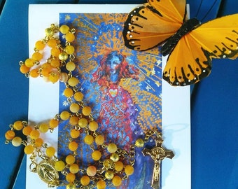 Orange Agate Rosary 6mm