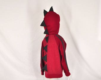 Red Dinosaur Hoodie - With Charcoal Gray Stripes and Spikes - Sizes XS, S, and M Available