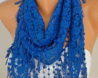 Navy Blue Lace Scarf Christmas Gift Shawl  Cowl Scarf Necklace Bridesmaid Gift Gift Ideas For Her Women Accessories Mother's Day Gift