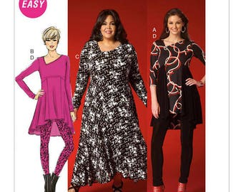 STYLISH  Asymmetrical-Neckline Dress, Tunic & Leggings Pattern by McCall's 7028, Easy Sew