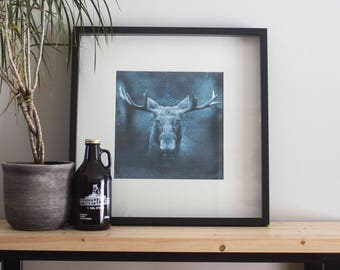 Artwork printed on canvas / / Moose on the run / / 13 x 13