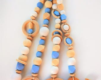 BLUE Baby Gym Wooden toys-wooden hangers-Nordic style-baby nursery decor-baby play gym-baby gym toys-Schätzchengymnastik-Baby Gym-