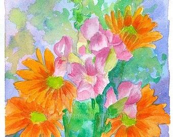 Orange Daisy Flower Bouquet Original Watercolor Painting