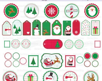 Merry Christmas Tag Set - 77 images PNG Digital Clipart - Instant download - seal, tag, gift tag, sticker, post mark