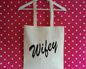 Wifey Tote Bag. Honeymoon Bag. Wedding Bag. Newly Wed Bag. Mrs Tote Bag. Honeymoon Gift. Beach Bag.
