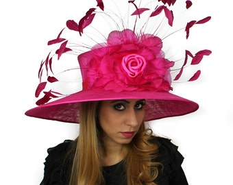 Jeanine Fuchsia Hat for Weddings, Kentucky Derby, & Special Events