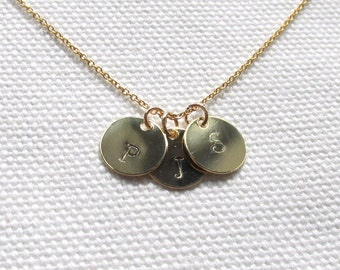 Initial Disc Necklace One Two Three or More Disc Necklace 14k Gold Fill chain Custom Personalized Jewelry Dainty Small Disc Circle Minimal