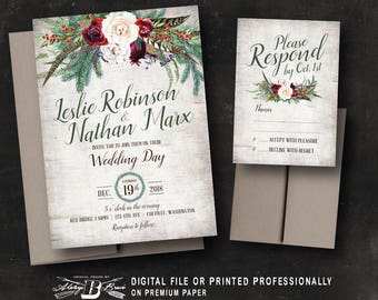 Rustic Christmas Wedding Invitation |  Printed OR Printable Digital File DIY | Country Woodland Birch Holiday Woodsy Roses Red Ivory