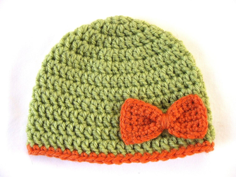 Preemie Hat Pattern Bow Crochet baby beanie pdf flower girl edge green orange 8 ply DK double knit quick embellish applique bebe prem cute