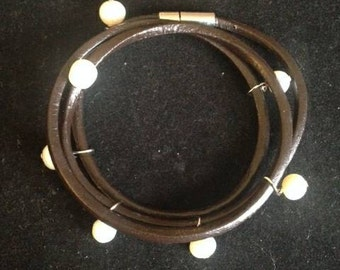 Brown Leather Wrap Bracelet with Pearl Dangles