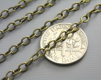 CHAIN-AB-4MMx3MM2 - 10-Foot 4mm x 3mm Antiqued RAW Brass Cable Chain