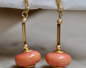 Dangly Gold and Corsl Lucite Bead Earrings