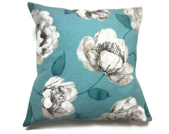 Decorative Pillow Cover Bold Floral Design Turquoise Linen White Darkest Brown Appears Black Same Fabric Front/Back Throw  18x18 inch x