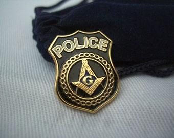 Masonic Lodge Freemason Freemasonry Police Shield Lapel Pin Plus Gift Pouch