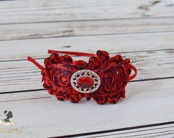 Handcrafted Light Red and Black Damask Headband - Shabby Rose Headpiece - Adult Headband - Christmas Headband - Light Red Holiday Headband