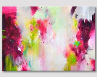 Originele grote XXL abstract schilderij, abstracte kunst, originele moderne schilderkunst, bordeaux fuchsia appelgroen, Acryl schilderij op canvas