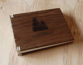 custom wood cabin or wedding guest book black walnut rustic fall anniversary gift memorial book personalized journal natural - made to order