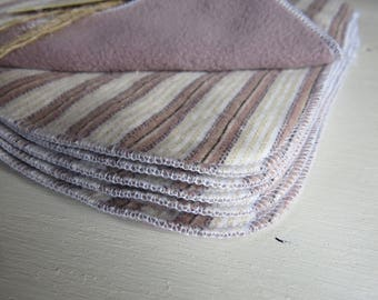 6 x Cloth Wipes - perfect for baby - nappy change or bath time - MCN - flannelette and microfleece - brown and beige stripes - unisex