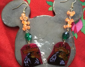 Rooster recycled plastic earrings