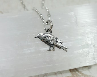 Raven necklace - tiny Silver Raven on Sterling chain - little bird necklace - crow necklace - black bird necklace - Good luck bird pendant