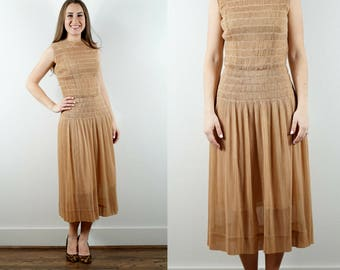1940s Brown Smocked Dress