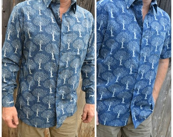 Men's Lightweight Hand Block Printed Indian Woven Cotton Long or Short Sleeve Button Down Pocket Shirt - Indigo Navy - Tree of Life I932