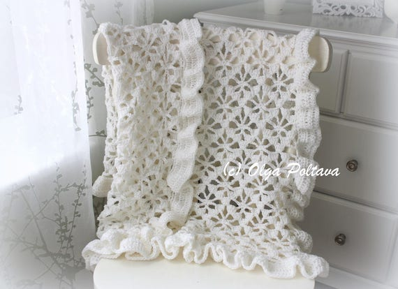 White Spider Lace Baby Blanket With Ruffled Trim Crochet