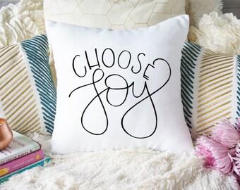 Choose Joy Decor Pillow   Handlettered Pillow   Throw Pillow Case   Home Decor   Housewarming Gift   Unique Gift
