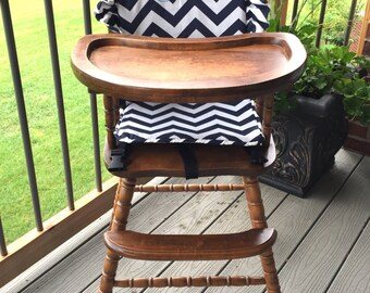 High Chair  cushion. High Chair pad. High Chair cover.  wooden highchairs.  Removable foam for easy washing.  Personalize.  Navy Chevron